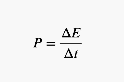 P equals change in E over change in t